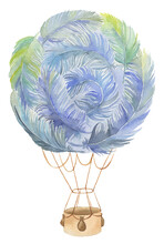 Colorful Fantasy Fairytale Feather Air Hot Balloon Painted In Watercolor Isolated On White Background