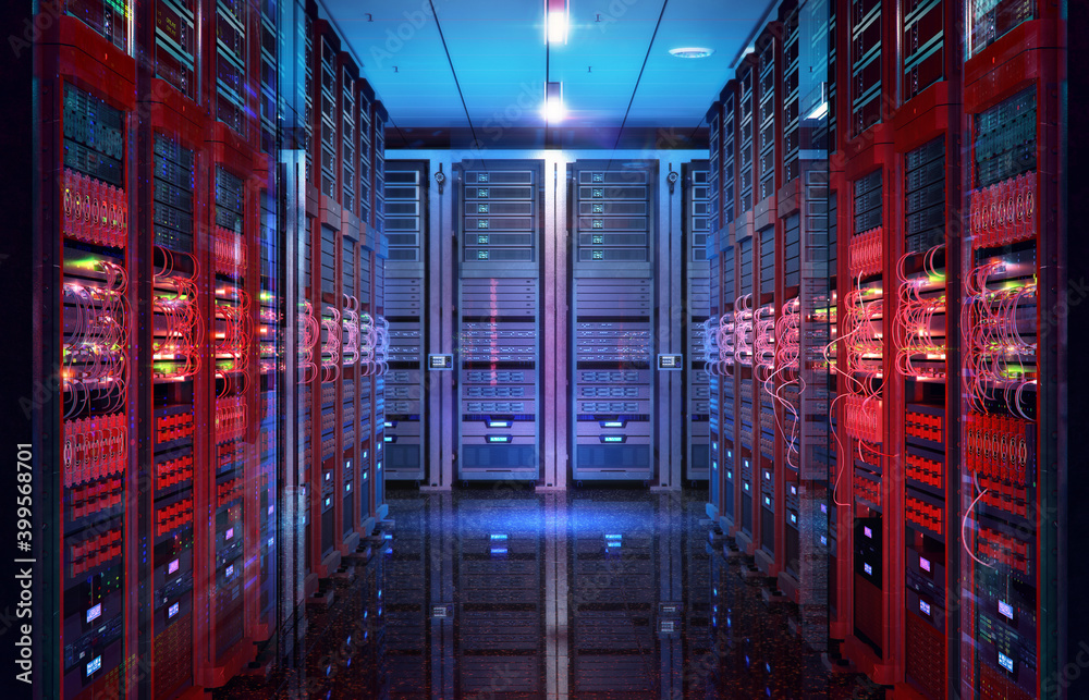 Fototapeta Data center with server racks, IT working server room with rows of supercomputers. 3D concept illustration of information technology, cyber network, hosting, data backup, render farm, storage cloud