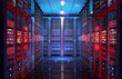 canvas print picture - Data center with server racks, IT working server room with rows of supercomputers. 3D concept illustration of information technology, cyber network, hosting, data backup, render farm, storage cloud