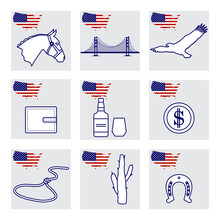 Vector USA Set American National Symbol Wild West