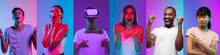 Collage Of Portraits Of 6 Young Emotional People On Multicolored Studio Background In Neon Light. Concept Of Human Emotions, Facial Expression, Sales. Playing VR, Hapy Winning, Astonished, Crazy.