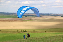 Paraglider Launching In The Pewsey Vale