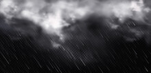 White Clouds, Rain And Fog In Sky. Vector Realistic Illustration Of Cold Storm Weather With Rainfall And Wind. Fluffy Clouds And Downpour, Falling Water Drops Isolated On Transparent Background