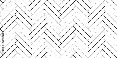 Obraz Black line vintage herringbone  wooden floor. Vector monochrome seamless pattern. Parquet design texture - fototapety do salonu