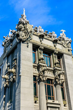 House With Chimeras In Kiev, Ukraine. Art Nouveau Building With Sculptures Of The Mythical Animals Was Created By Architect Vladislav Gorodetsky Between 1901 And 1903.