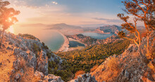 Stunning Panoramic View From The Top Of The Mountain To The Blue Bay And Lagoon Near The Town Of Dalyan In Turkey. Famous Mediterranean Resorts And The Wonders Of Nature
