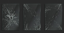 Broken Glass With Cracks And Hole From Impact Or Bullet. Vector Realistic Set Of Rectangle Clear Acrylic Or Plexiglass Frames With Crashed Texture, White Scratches And Breaks