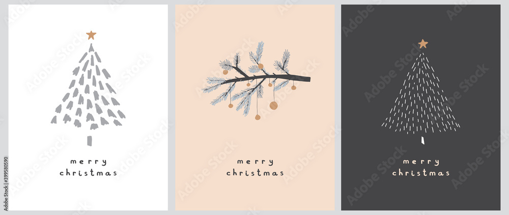 Fototapeta Merry Christmas. Happy Holidays. Simple Infantile Style Christmas Trees and Branch with Gold Baubles Isolated on a White, Cream and Pale Black Background.Cute Hand Drawn Christmas Wishes Vector Card.