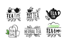 Tea Emblems With Text And Leaves