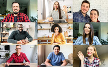 Application View Of Multiracial Work Team, Headshots Of Diverse Group Of Young People Looks At The Camera And Smile. Concept Of Virtual Conference, Video Call, Online Meeting