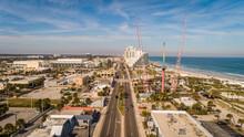 """Daytona Beach, FL USA - 12-10-2020: Symmetrical Shot Over A1A Showing Off The Iconic Daytona Beach Skyline And Amusements."""