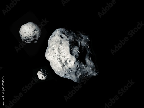 Valokuva Asteroid surface with craters, rocky small planet, stone satellite on a black background