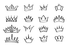 Crowns Vector Set In Doodle Style. King And Queen Crown As Sketch. Outlines Royal Family Signs. Simple Diadems For Princess. Luxury Accessories For Prince. Imperial Attributes In Graffiti Hand Drawn.