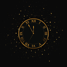 New Year Gold Clock. Merry Christmas. Vector Illustration
