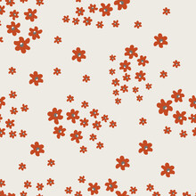 Vector Seamless Pattern With Small Pretty Red Flowers On Beige Backdrop. Liberty Style Millefleurs. Simple Floral Background. Elegant Ditsy Ornament. Repeat Design For Decor, Textile, Wallpaper, Print