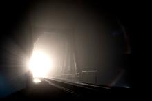 Night, Illuminated Railway Bridge In Black And White Tones