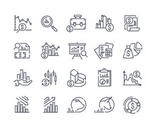 Set Of Financial Analytics Related Vector Line Icons. Gainers And Losers, Portfolio Analysis, Financial Report And More. Editable Stroke