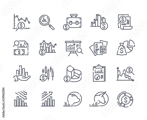 Fotografia Set of financial analytics related vector line icons