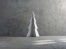 White Metal Christmas Tree In Empty Room With Concrete Wall