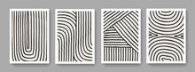 Collection Of Abstract Stripes Posters. Mid-century Concept Art. Modern Mobochrome Posters. Illustration For Covers, Banners, Brochures And Postcards.