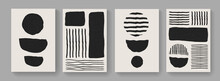 Set Of Mid-century Art Compositions. Modern Abstract Poster Elements Vector Design. Illustration For Postcards, Covers And Brochures.