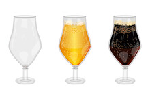 Set Of Full And Empty Beer Glass Isolated On White Background. Empty, Lager And Dark Beer Glasses With Bubbles.Three Mugs Of Blank, Light And Porter Beer.Patrick Day Or Oktoberfest.Vector Illustration