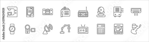 Papel de parede outline set of electronic devices line icons