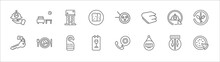 Outline Set Of Restaurant Line Icons. Linear Vector Icons Such As Lounge, Restaurant, Sushi, 24 Service, Cutlery, Room Key, Food, Do Not Disturb, Wine Menu, Hotel, Pizza