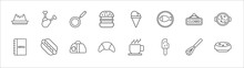Outline Set Of Bistro And Restaurant Line Icons. Linear Vector Icons Such As Chicken Thigh, Frying Pan From Top, Two Balls Ice Cream Cone, Closed, Paella With Parwns, Menu Card, Hot Dog With