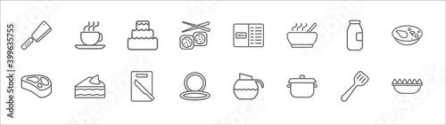 outline set of bistro and restaurant line icons Fototapet