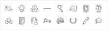 Outline Set Of Graduation And Education Line Icons. Linear Vector Icons Such As Don Quixote, Cube, Magnifying Glass, Ebook, Uniform, Shakespeare, Thesis, Chemistry, Pencil Case, Laurel Wreath,