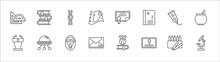 Outline Set Of Education Line Icons. Linear Vector Icons Such As Books, Dna, Diploma, Paint Tube, Punch Bowl, Lectern, Ufo, Scream, Letter, Merit, Microscope