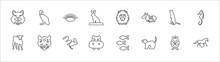 Outline Set Of Animals Line Icons. Linear Vector Icons Such As Vulture, Clam, Orangutan, Ermine, Sea Horse, Calf, Jaguar, Jerboa, Hippo, Ferret, Wild Horse