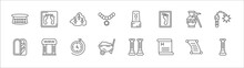 Outline Set Of History Line Icons. Linear Vector Icons Such As Footprint, Stone, Moais, Archeologist, Ancient Weapon, Mummy, Museum, Arrow, Wheelbarrow, Report, Column