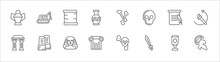 Outline Set Of History Line Icons. Linear Vector Icons Such As Digger, Old Paper, Bones, Poster, Brushes, Arc, Staff, Sphinx, Pillars, Sword, Greek