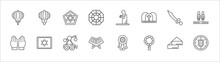 Outline Set Of Cultures Line Icons. Linear Vector Icons Such As Paper Lantern, David, Muslim Praying, Scimitar, Terracotta Army, Islamic Prayer, Israel Star Of David, Trebuchet, Quran Book, Beads,
