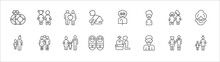 Outline Set Of Family Relations Line Icons. Linear Vector Icons Such As Sibling, Spouse, Grandfather, Sibling's Child, Grandmother, Niece, Girlfriend, Parent, Twin, Father, Mother