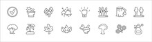 Outline Set Of Nature Line Icons. Linear Vector Icons Such As Flower Therapy, Silver Maple Tree, Determination, Trunk, Bigtooth Aspen Tree, The Oaks Tree, Growing, Autumn Leaves, Leaf And Drop, With