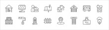 Outline Set Of Real Estate Line Icons. Linear Vector Icons Such As Billboard, Realtor, Neighborhood, Bedroom, Duplex, Balcony, Paint Roll, Skyscraper, Fence, Office Building, Tree House