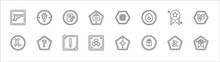 Outline Set Of Signs Line Icons. Linear Vector Icons Such As Plug, , Mail, Superior, Instruction, Subscript, Question Mark Button, Alert, Toxic, Gift Shop, Premium Badge