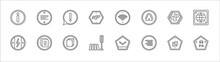 Outline Set Of Signs Line Icons. Linear Vector Icons Such As Align Left, Exclamation, Wireless Network, Panels, World Grid, Electric Current, Text Documents, Copying, Crossing, Align Right, Toxic