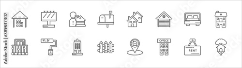 Stampa su Tela outline set of real estate line icons