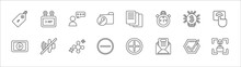 Outline Set Of User Interface Line Icons. Linear Vector Icons Such As Daily Calendar Day 14, User With Speech Bubble, Multiple File, Digital Currency, Alarm Button, Video Edition, Sound Off, Pointed
