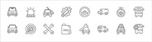 Outline Set Of Mechanicons Line Icons. Linear Vector Icons Such As Car Beacon On, Car With Repair Equipment, Car Steering Wheel, Police With Steering Wheel, Public Bus, Rectangular Front, Changing