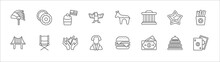 Outline Set Of United States Line Icons. Linear Vector Icons Such As Donut, Bake, Democrat, Independence Day, French Fries, Golden Gate, Director Chair, Blessings, George Washington, Usa, Casino