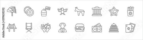 Obraz na plátně outline set of united states line icons