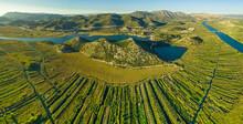 Aerial View Of The Neretva Delta Valley River Near Ploce, South Dalmatia, Croatia.