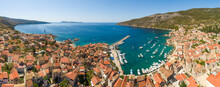 Aerial View Of The Bay Of Komiza On The Island Of Vis, Dalmatia, Croatia.