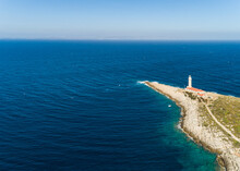 Aerial View Of Stoncica Lighthouse On The Island Of Vis, Dalmatia, Croatia.
