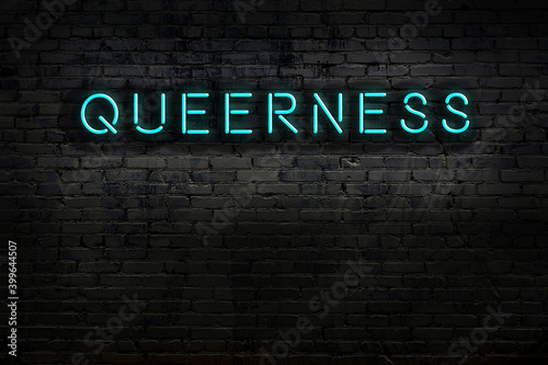 Fototapeta Neon sign. Word queerness against brick wall. Night view